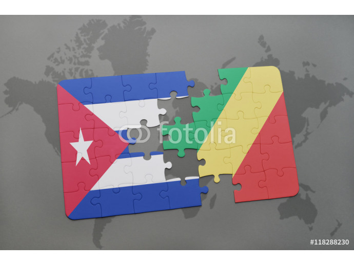 Vliestapete puzzle with the national flag of cuba and republic of the congo on a world map background. 64238