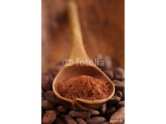 cocoa powder in spoon  on roasted cocoa chocolate beans backgrou 64238