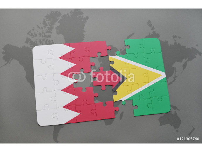 Wallpaper puzzle with the national flag of bahrain and guyana on a world map background. 64238