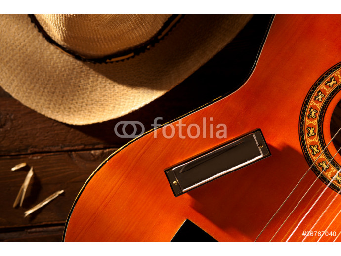 Harmonica on Guitar with Cowboy Hat on Wood 64238