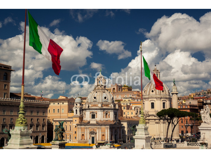 The flag of Italy blowing in the wind 64238