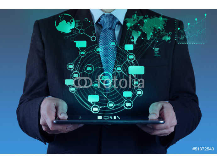 businessman using tablet computer shows internet and social netw 64238