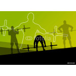 Men crossfit weight lifting sport silhouettes abstract backgroun 64238