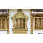 Carved wooden window at the temple in Luang Prabang, Laos. 64238