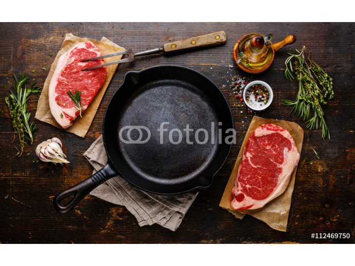 Raw fresh meat Steak Striploin for two with ingredients around f 64238
