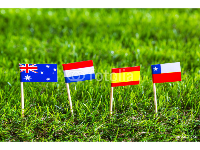 Paper cut of flags on grass for Soccer championship 2014 , group 64238
