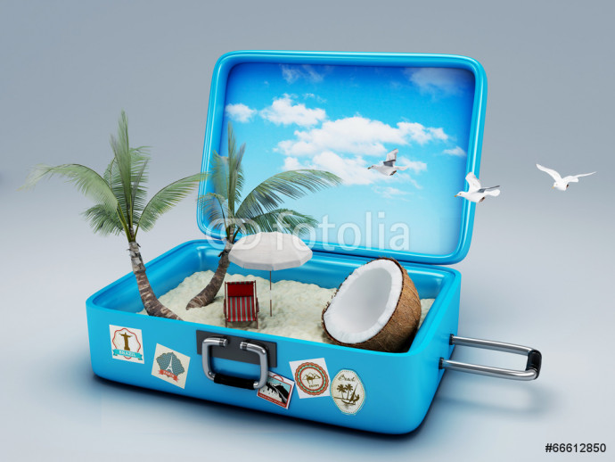 Photo wallpaper Travel suitcase. beach vacation 64238