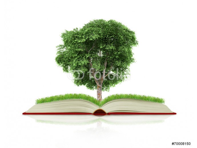 book of nature with grass and tree growth on it over white blue 64238