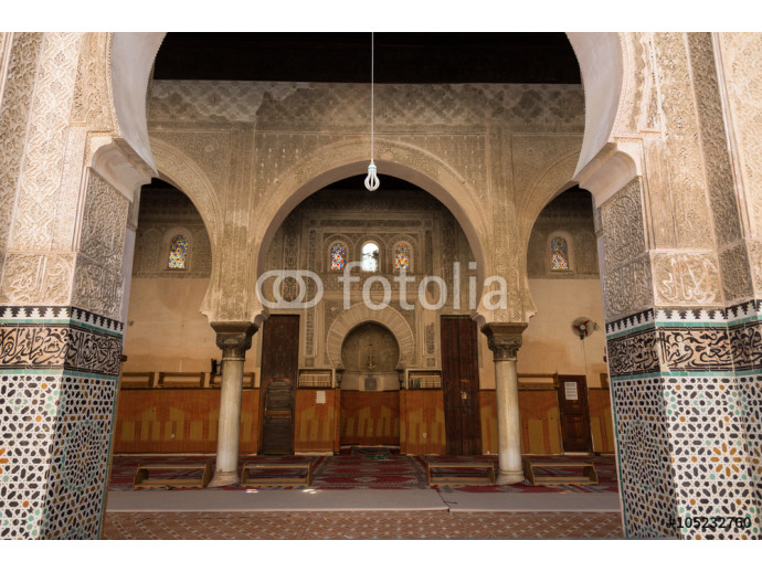 the mosque of the 14th century Bou Inania medrese in the ancient medina of Fes 64238