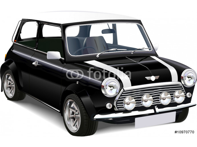 Detailed vector  illustration of old mini cooper 64238