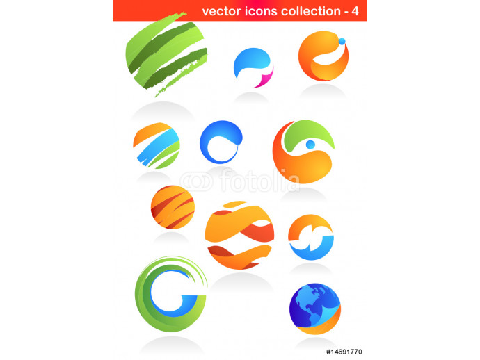 Vliestapete collection of abstract logos and icons 64238
