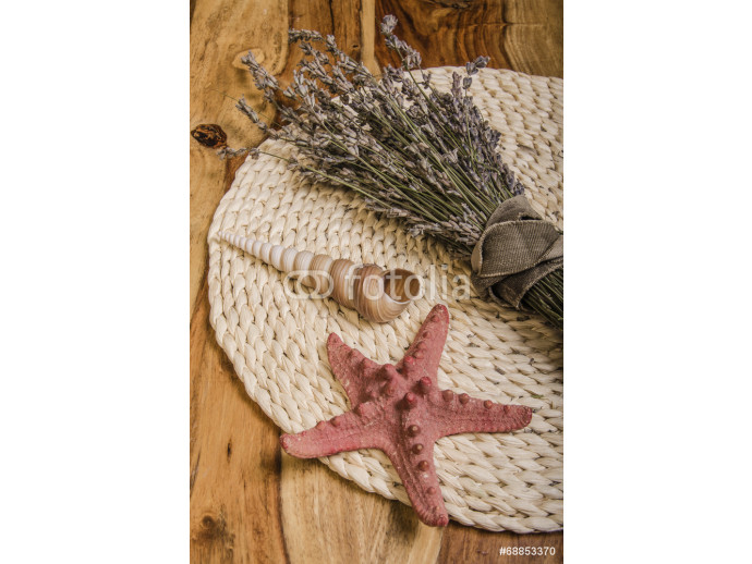 summer treasures: lavender, seashells, starfish 64238