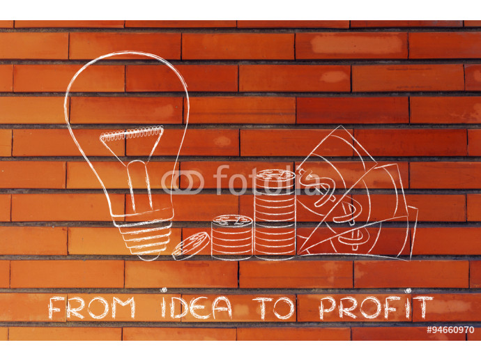 lightbulb next to coins and cash with text From idea to profit 64238