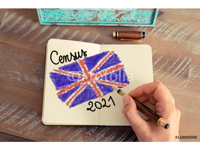 Census 2021 United Kingdom written on notebook page 64238