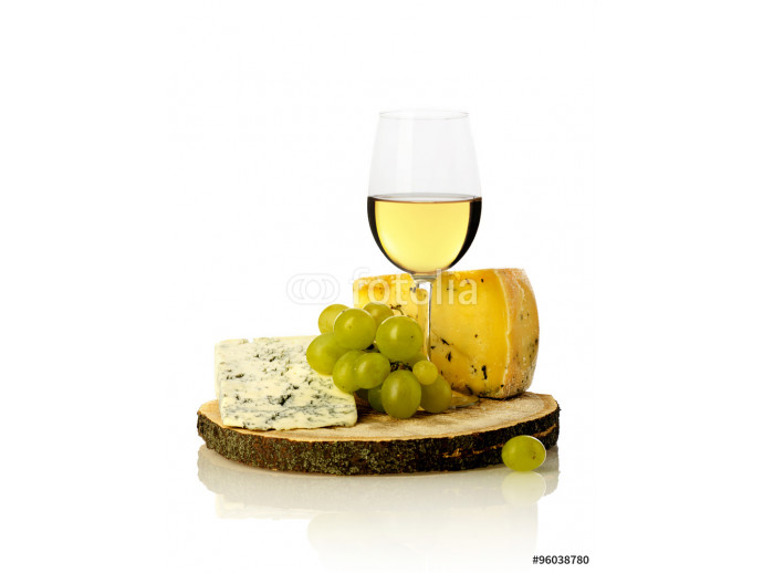 Wine glass, grapes and cheese 64238