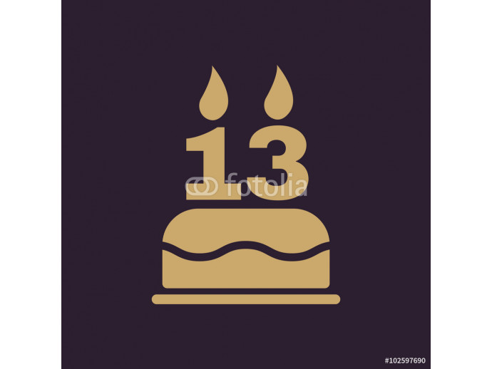 Fotomural decorativo The birthday cake with candles in the form of number 13 icon. Birthday symbol. Flat 64238