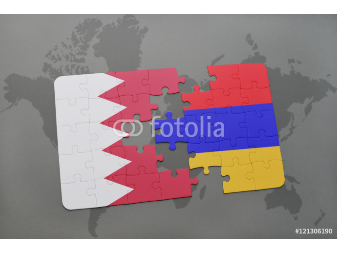 puzzle with the national flag of bahrain and armenia on a world map background. 64238