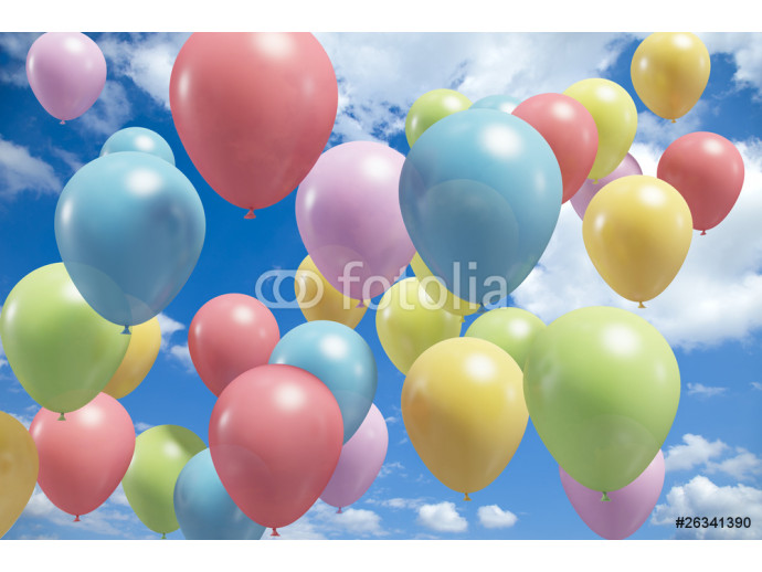 Lots of colorful balloons flying in the air 64238