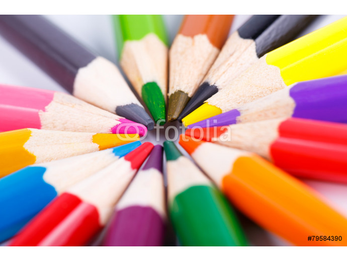 Colorful wooden pencils in the circle isolated on white 64238