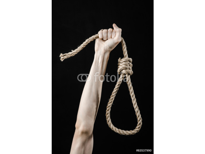 man's hand holding a loop of rope for hanging on  isolated 64238