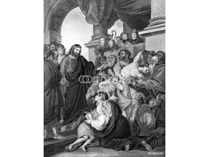 Fototapeta An engraved vintage illustration image of Jesus Christ healing the sick in the Temple, from a Victorian Bible dated 1852 that is no longer in copyright 64238