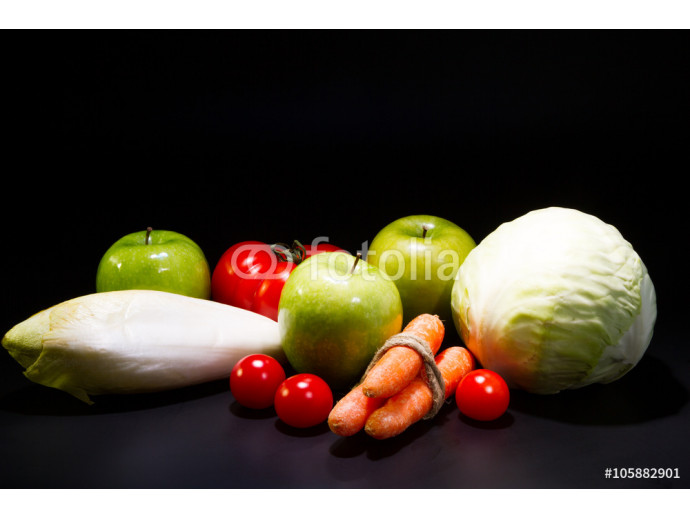 vegetables and fruit on a black background 64238
