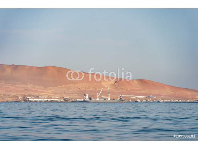 Fotomurale Coal mines and mining pier with transportation ship, Islas Balle 64238