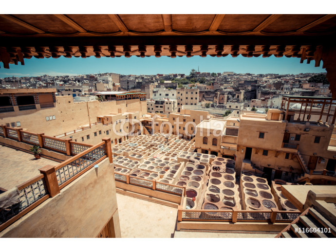 The oldest tannery in Morocco, in the medina of Fes (Fez) City 64238