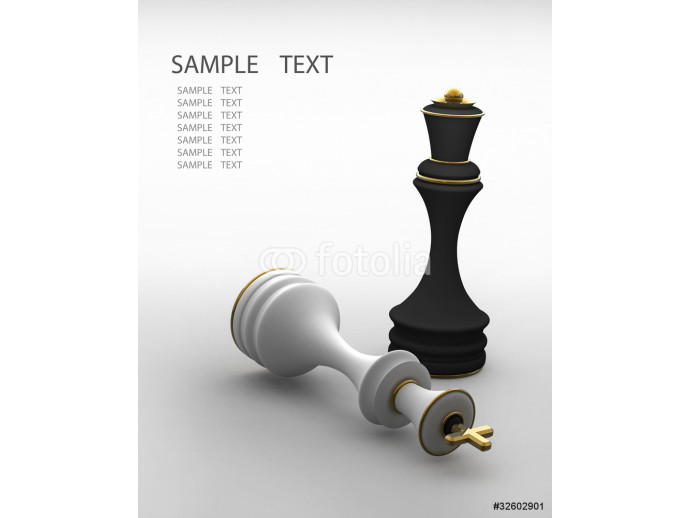Chess concept image - checkmate 3D render 64238