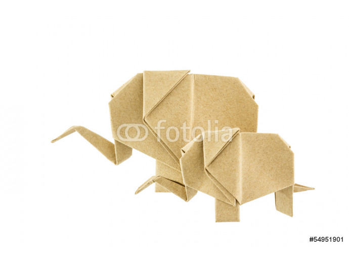 Origami elephant and baby elephant recycle paper 64238