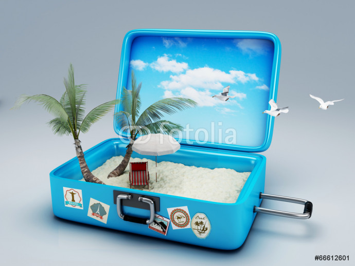 Travel suitcase. beach vacation 64238