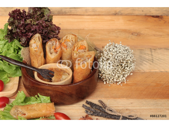 Fried spring rolls traditional for appetizer food. 64238