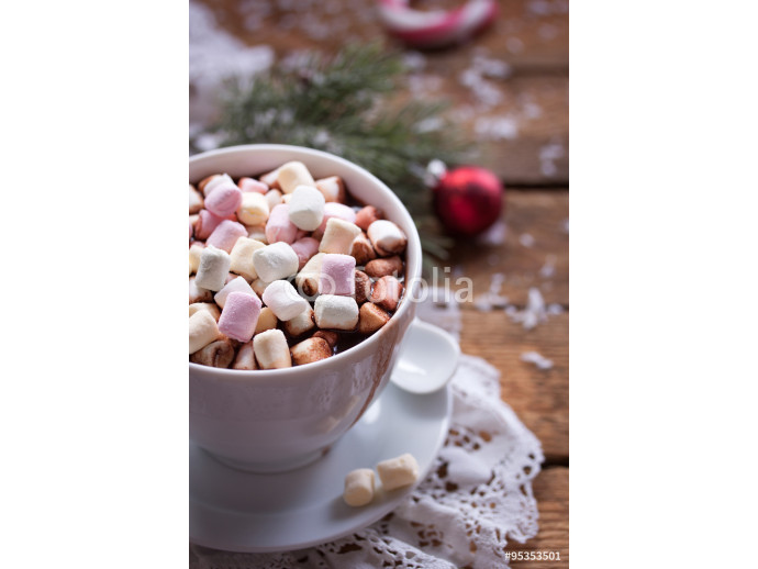 Fototapeta Homemade hot chocolate with marshmallow for christmas. 64238