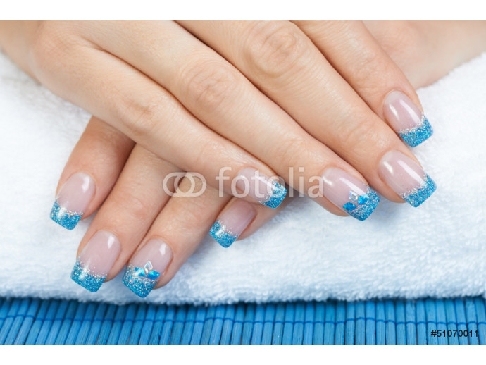 Manicure - blue nail art 64238