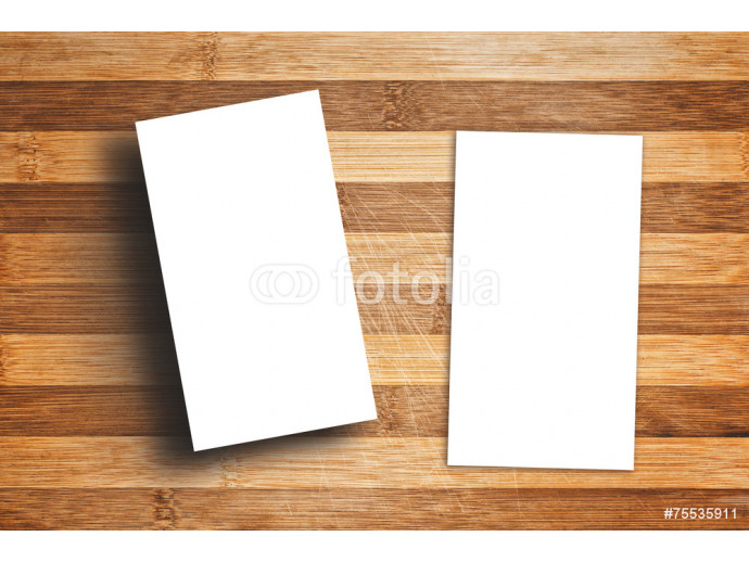 Blank Vertical Business Cards on Wooden Table 64238