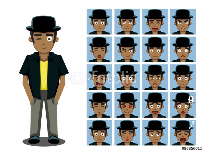 African American Brother Cartoon Emotion faces Vector Illustration 64238