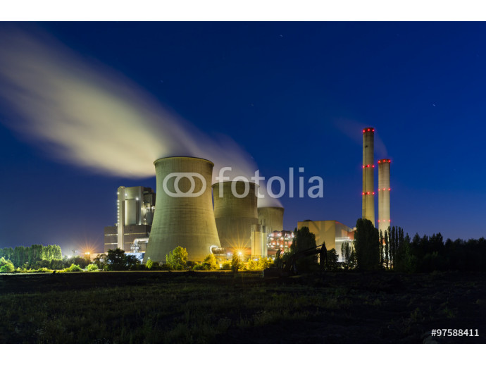 Coal Power Station At Night 64238