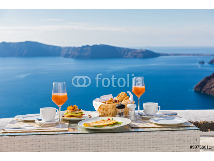Breakfast at a table overlooking the sea 64238