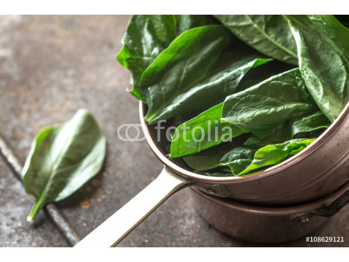 Fresh spinach in the copper pot 64238