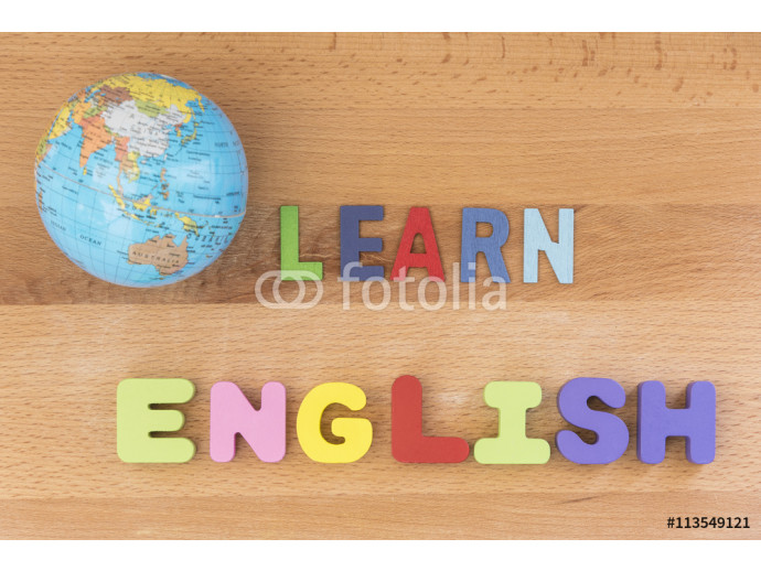 word learn english with globe over wooden background 64238