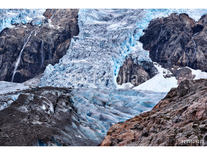 Wallpaper Ice formations, between the mountain sides, of the blue compressed ice on Folgefonna glacier in Norway 64238
