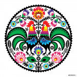 Polish floral embroidery with roosters folk pattern 64238