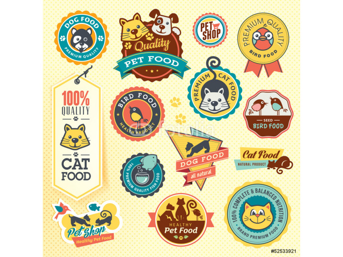 Set of animal labels and stickers 64238