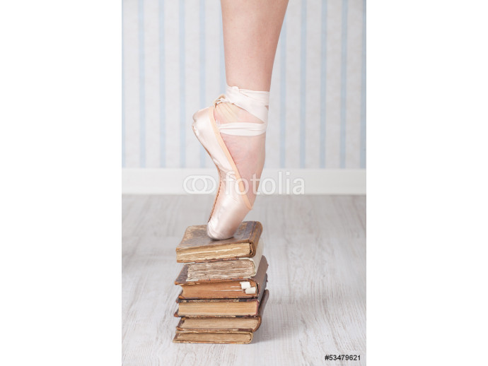 Ballet shoe on a stack of old books 64238