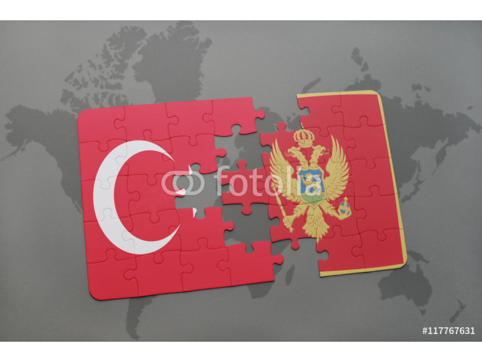 puzzle with the national flag of turkey and montenegro on a world map background. 64238