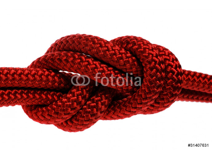 Double red rope tied  in a figure eight knot. 64238