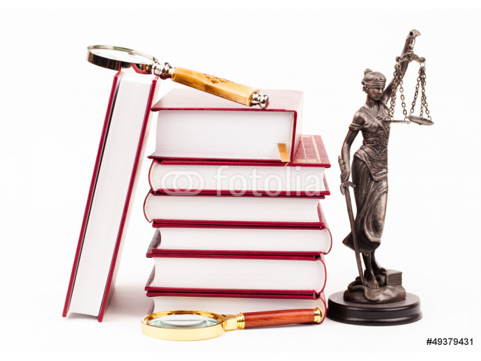 law book, money , magnifying glass and lady of justice 64238