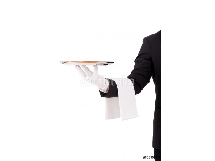 Professional waiter holding an empty dish. Isolated on white bac 64238