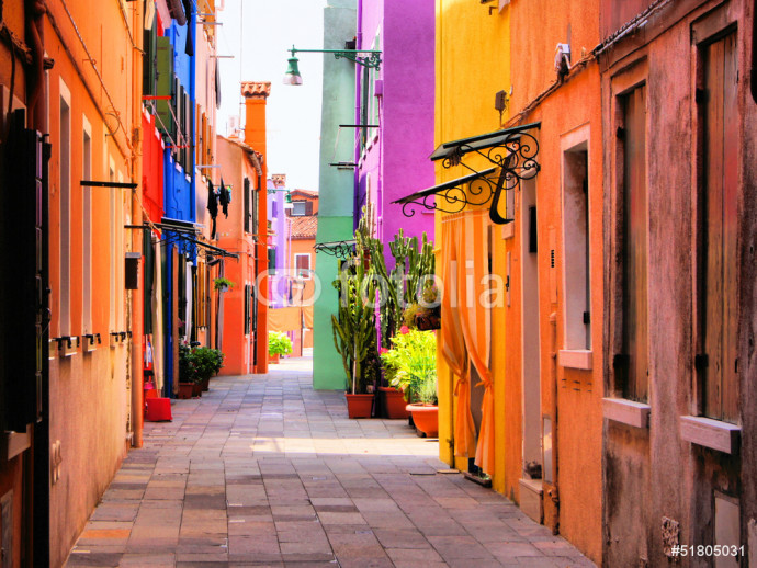 Colorful street in Burano, near Venice, Italy 64238