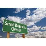 Small Business Owner Green Road Sign and Clouds 64238